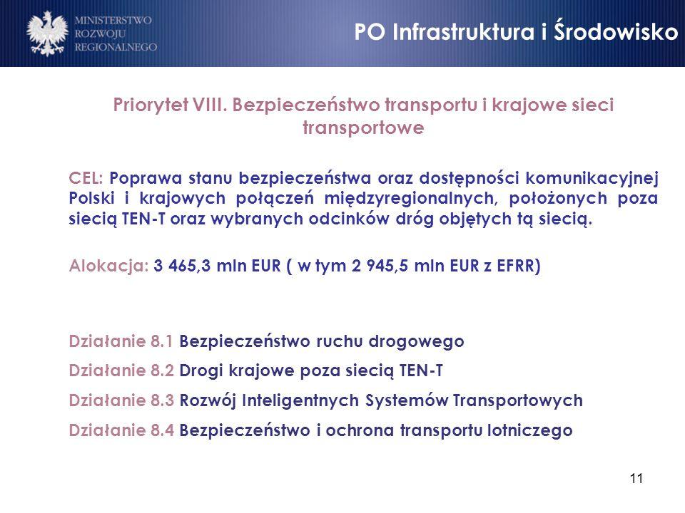 11 Priorytet VIII. Bezpieczeństwo transportu i krajowe sieci transportowe CEL: Poprawa stanu bezpieczeństwa oraz dostępności komunikacyjnej Polski i k