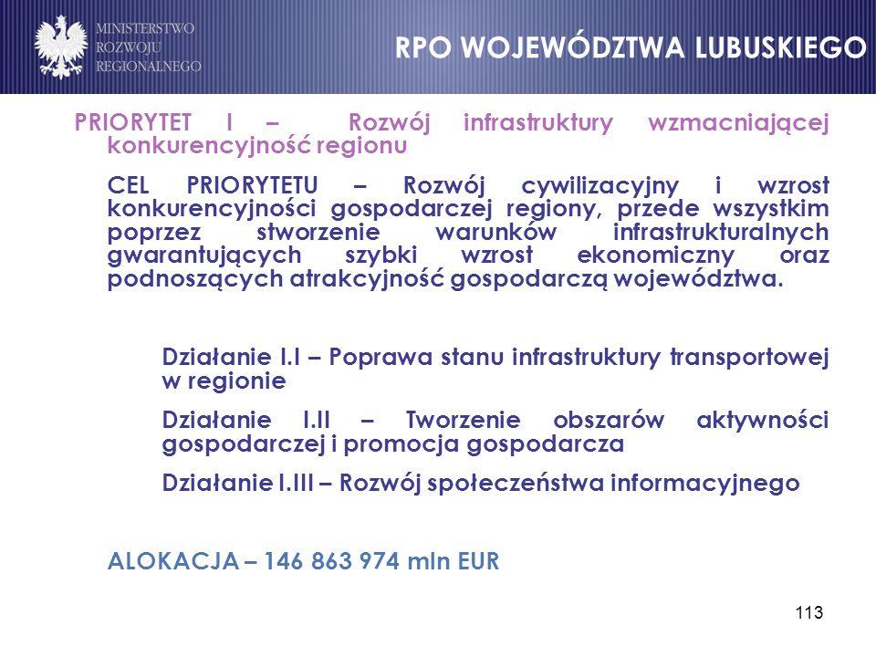113 PRIORYTET I – Rozwój infrastruktury wzmacniającej konkurencyjność regionu CEL PRIORYTETU – Rozwój cywilizacyjny i wzrost konkurencyjności gospodar
