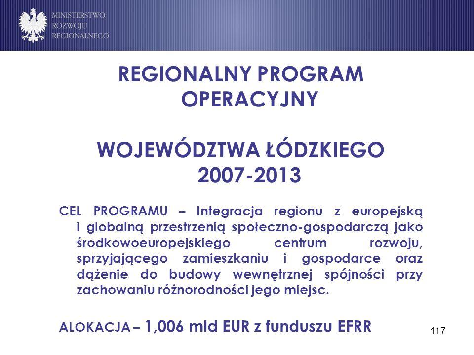 117 REGIONALNY PROGRAM OPERACYJNY WOJEWÓDZTWA ŁÓDZKIEGO 2007-2013 CEL PROGRAMU – Integracja regionu z europejską i globalną przestrzenią społeczno-gos