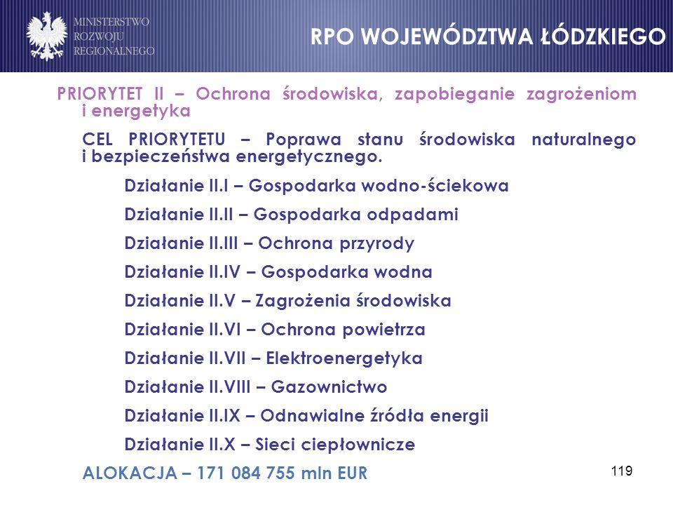 119 PRIORYTET II – Ochrona środowiska, zapobieganie zagrożeniom i energetyka CEL PRIORYTETU – Poprawa stanu środowiska naturalnego i bezpieczeństwa en