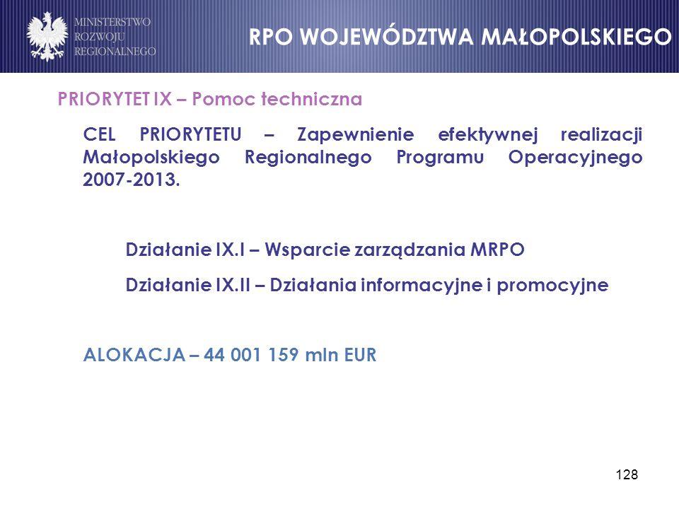 128 PRIORYTET IX – Pomoc techniczna CEL PRIORYTETU – Zapewnienie efektywnej realizacji Małopolskiego Regionalnego Programu Operacyjnego 2007-2013. Dzi