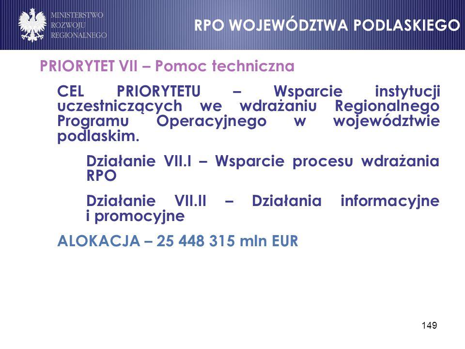 149 PRIORYTET VII – Pomoc techniczna CEL PRIORYTETU – Wsparcie instytucji uczestniczących we wdrażaniu Regionalnego Programu Operacyjnego w województw