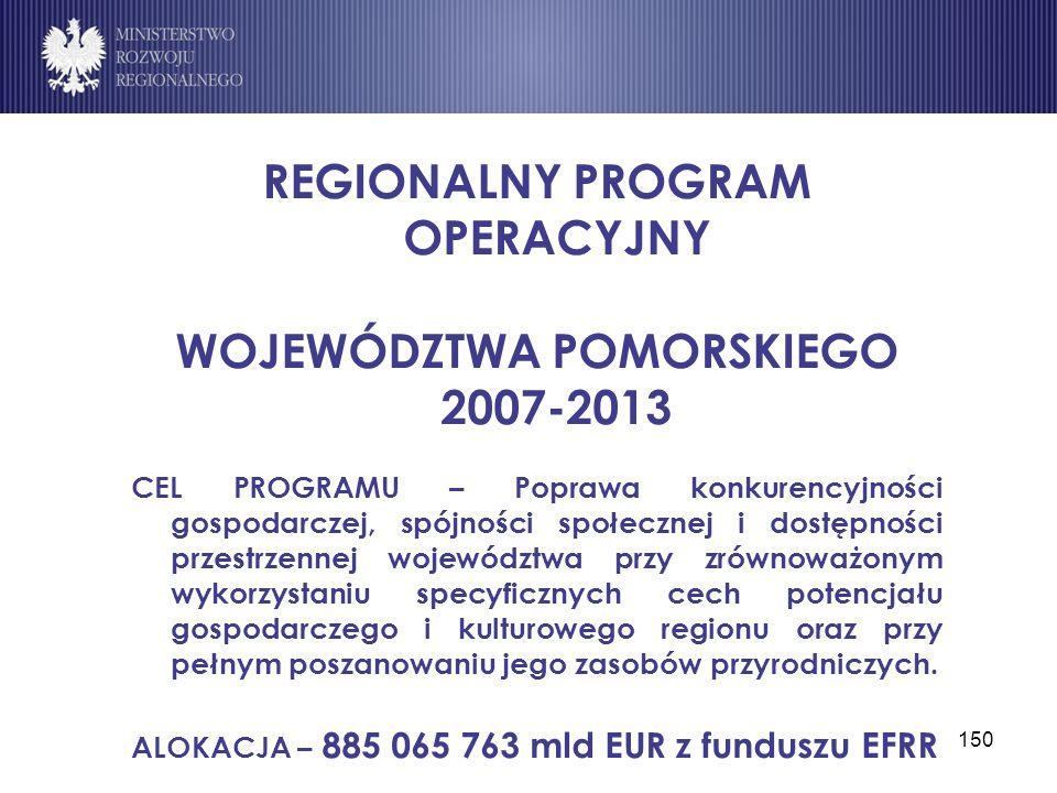 150 REGIONALNY PROGRAM OPERACYJNY WOJEWÓDZTWA POMORSKIEGO 2007-2013 CEL PROGRAMU – Poprawa konkurencyjności gospodarczej, spójności społecznej i dostę