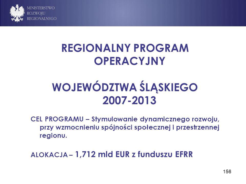 156 REGIONALNY PROGRAM OPERACYJNY WOJEWÓDZTWA ŚLĄSKIEGO 2007-2013 CEL PROGRAMU – Stymulowanie dynamicznego rozwoju, przy wzmocnieniu spójności społecz