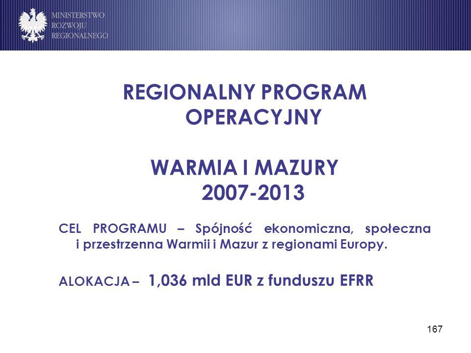 167 REGIONALNY PROGRAM OPERACYJNY WARMIA I MAZURY 2007-2013 CEL PROGRAMU – Spójność ekonomiczna, społeczna i przestrzenna Warmii i Mazur z regionami E
