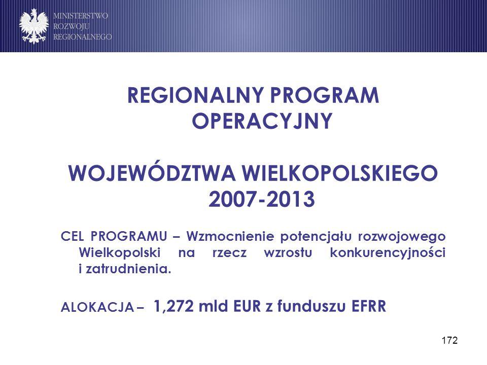 172 REGIONALNY PROGRAM OPERACYJNY WOJEWÓDZTWA WIELKOPOLSKIEGO 2007-2013 CEL PROGRAMU – Wzmocnienie potencjału rozwojowego Wielkopolski na rzecz wzrost