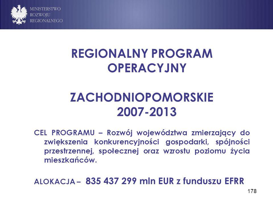 178 REGIONALNY PROGRAM OPERACYJNY ZACHODNIOPOMORSKIE 2007-2013 CEL PROGRAMU – Rozwój województwa zmierzający do zwiększenia konkurencyjności gospodark