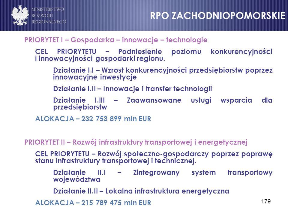 179 PRIORYTET I – Gospodarka – innowacje – technologie CEL PRIORYTETU – Podniesienie poziomu konkurencyjności i innowacyjności gospodarki regionu. Dzi