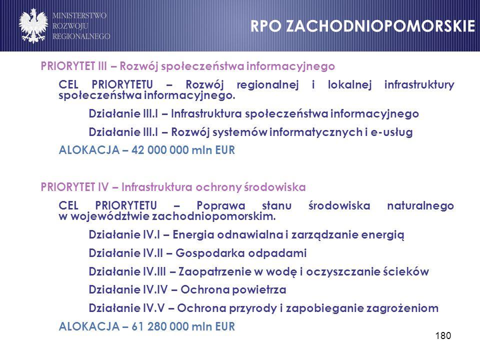 180 PRIORYTET III – Rozwój społeczeństwa informacyjnego CEL PRIORYTETU – Rozwój regionalnej i lokalnej infrastruktury społeczeństwa informacyjnego. Dz