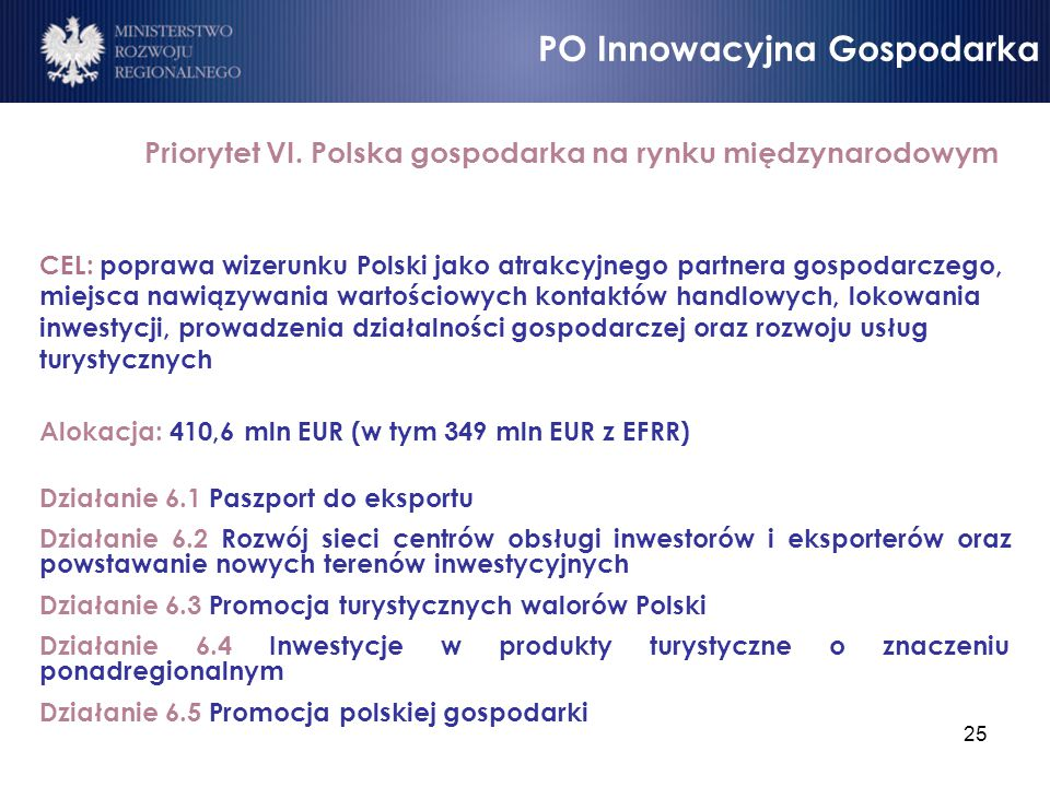 25 Priorytet VI. Polska gospodarka na rynku międzynarodowym CEL: poprawa wizerunku Polski jako atrakcyjnego partnera gospodarczego, miejsca nawiązywan