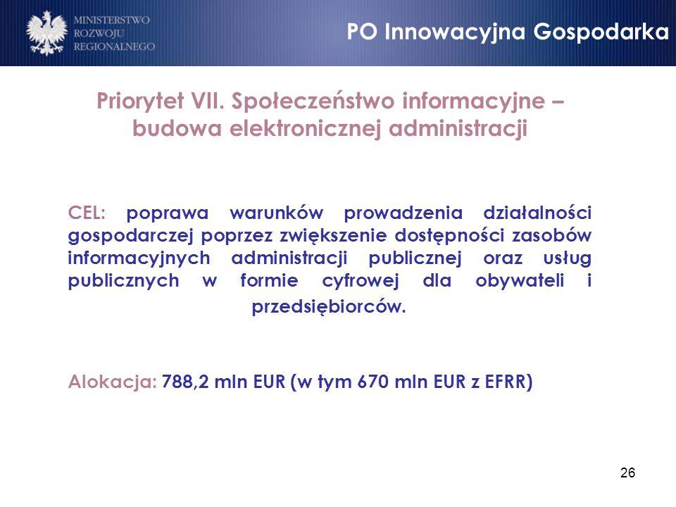 26 Priorytet VII. Społeczeństwo informacyjne – budowa elektronicznej administracji CEL: poprawa warunków prowadzenia działalności gospodarczej poprzez
