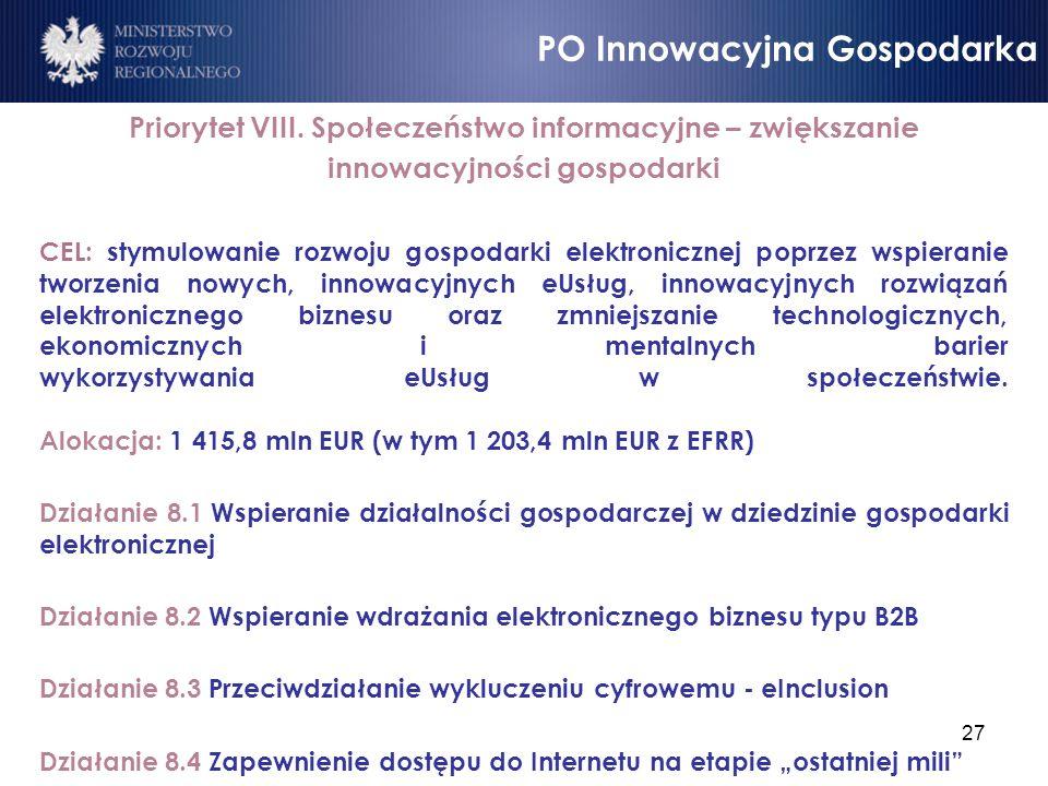 27 Priorytet VIII. Społeczeństwo informacyjne – zwiększanie innowacyjności gospodarki CEL: stymulowanie rozwoju gospodarki elektronicznej poprzez wspi