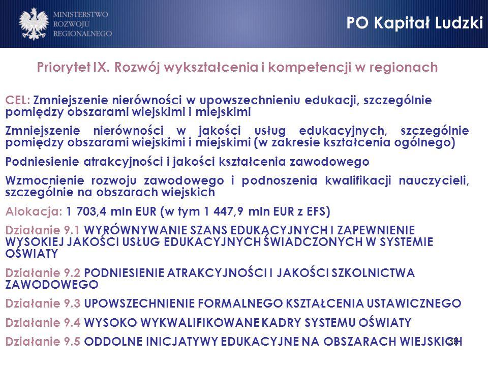 38 Priorytet IX. Rozwój wykształcenia i kompetencji w regionach CEL: Zmniejszenie nierówności w upowszechnieniu edukacji, szczególnie pomiędzy obszara