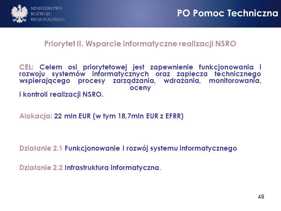 49 Priorytet II. Wsparcie informatyczne realizacji NSRO CEL: Celem osi priorytetowej jest zapewnienie funkcjonowania i rozwoju systemów informatycznyc