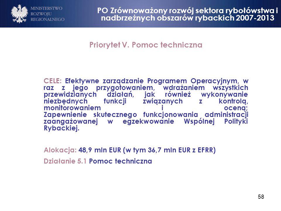 58 Priorytet V. Pomoc techniczna CELE: Efektywne zarządzanie Programem Operacyjnym, w raz z jego przygotowaniem, wdrażaniem wszystkich przewidzianych