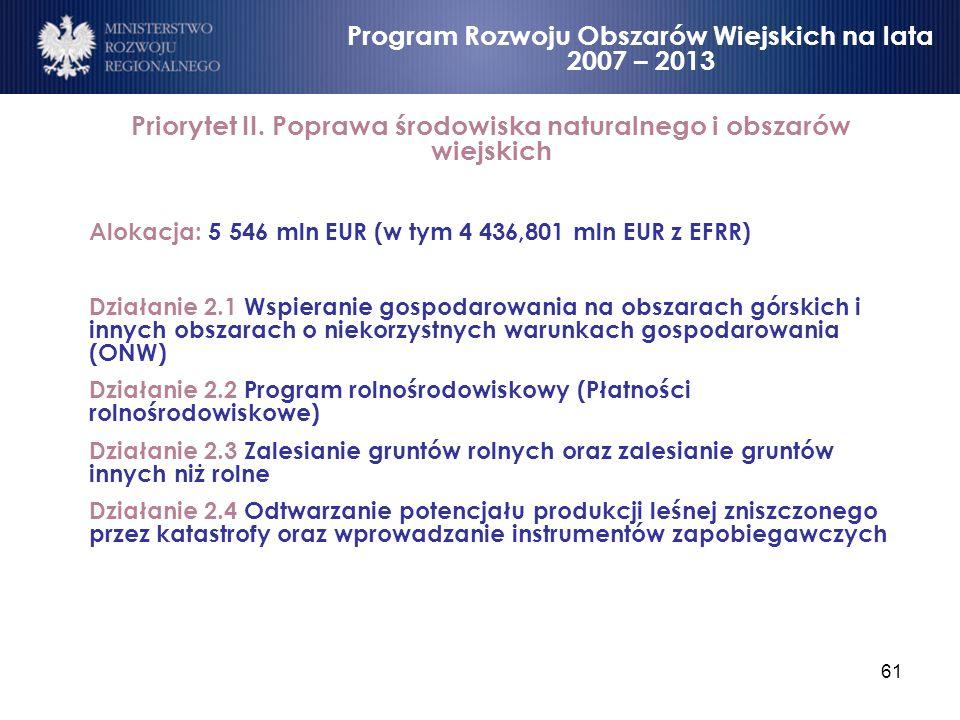 61 Priorytet II. Poprawa środowiska naturalnego i obszarów wiejskich Alokacja: 5 546 mln EUR (w tym 4 436,801 mln EUR z EFRR) Działanie 2.1 Wspieranie