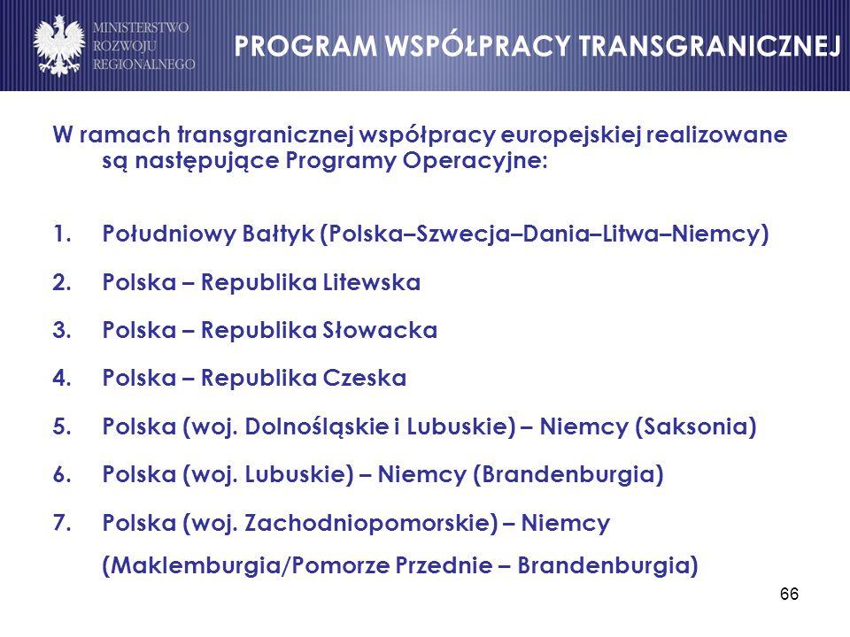 66 W ramach transgranicznej współpracy europejskiej realizowane są następujące Programy Operacyjne: 1.Południowy Bałtyk (Polska–Szwecja–Dania–Litwa–Ni