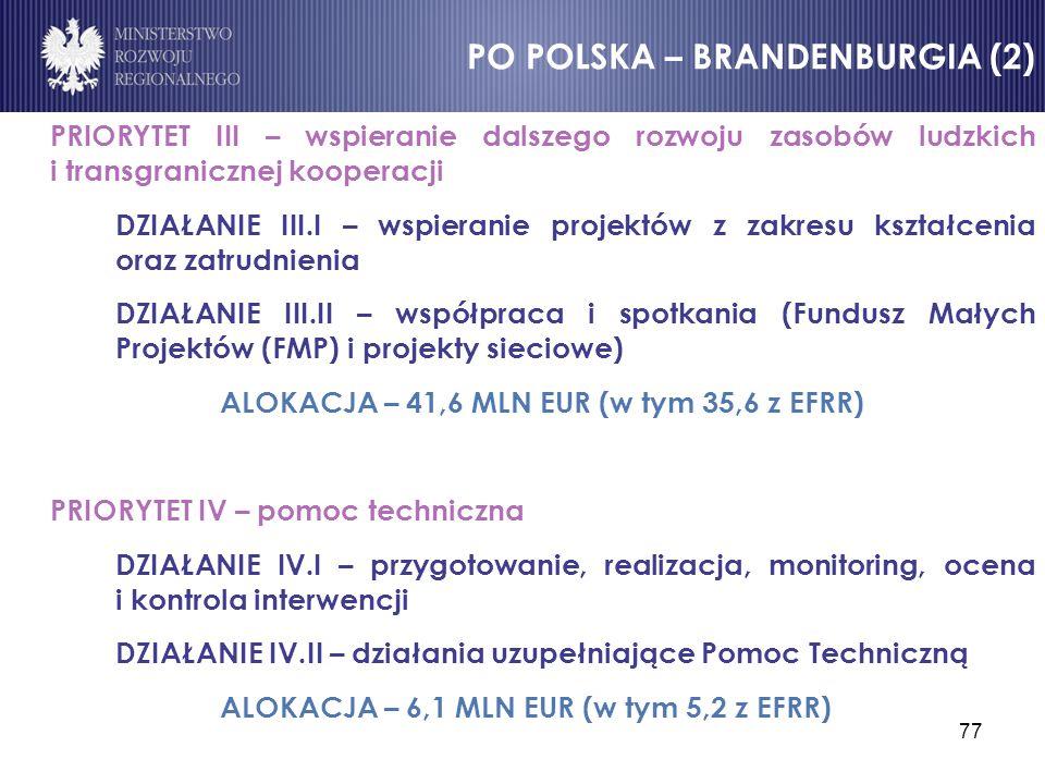 77 PRIORYTET III – wspieranie dalszego rozwoju zasobów ludzkich i transgranicznej kooperacji DZIAŁANIE III.I – wspieranie projektów z zakresu kształce
