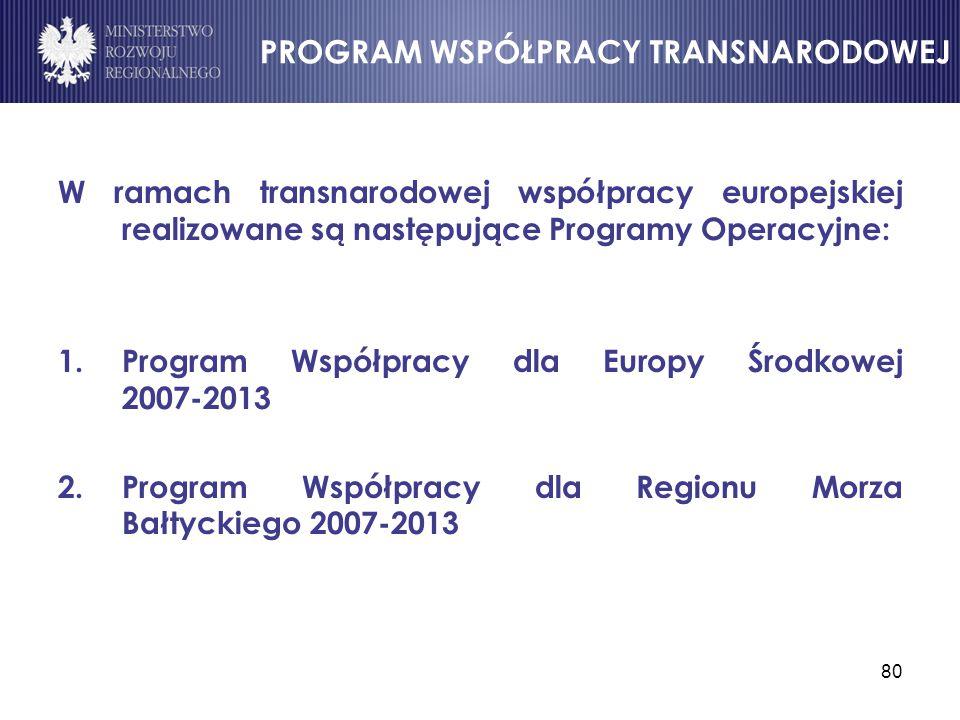 80 PROGRAM WSPÓŁPRACY TRANSNARODOWEJ W ramach transnarodowej współpracy europejskiej realizowane są następujące Programy Operacyjne: 1.Program Współpr