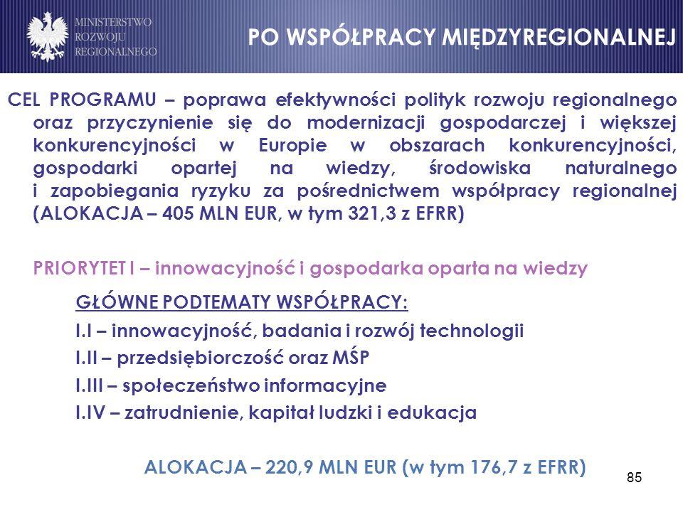 85 CEL PROGRAMU – poprawa efektywności polityk rozwoju regionalnego oraz przyczynienie się do modernizacji gospodarczej i większej konkurencyjności w