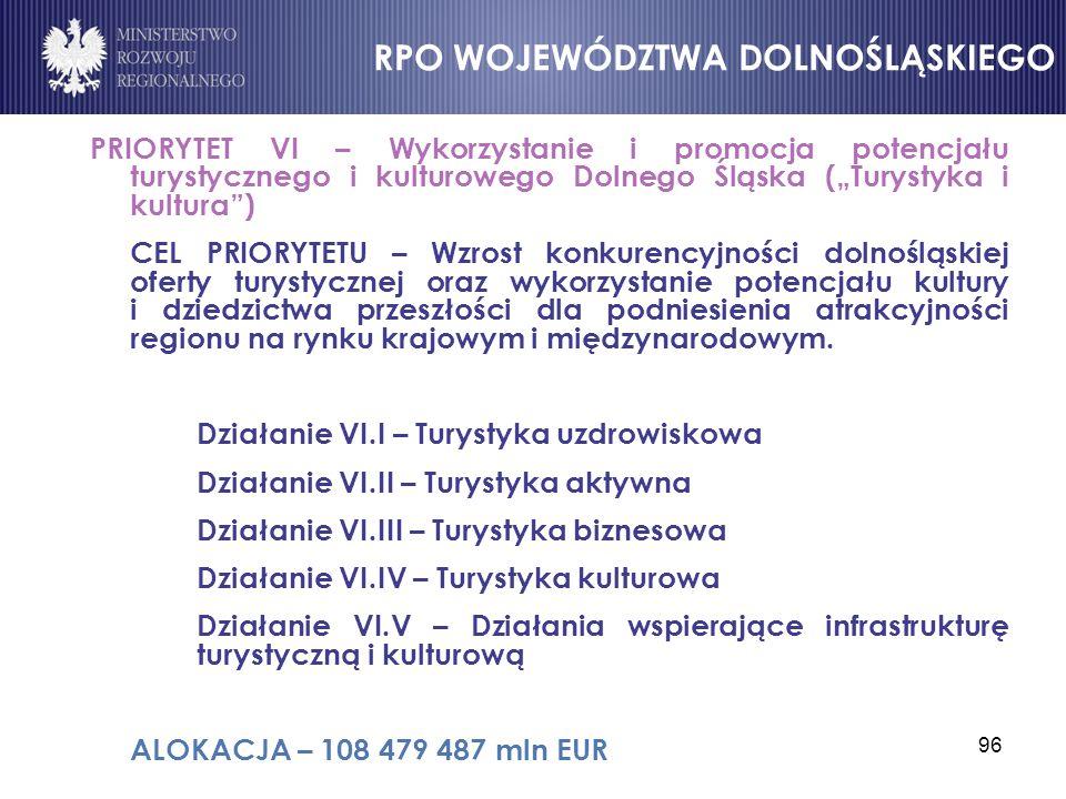 """96 PRIORYTET VI – Wykorzystanie i promocja potencjału turystycznego i kulturowego Dolnego Śląska (""""Turystyka i kultura"""") CEL PRIORYTETU – Wzrost konku"""
