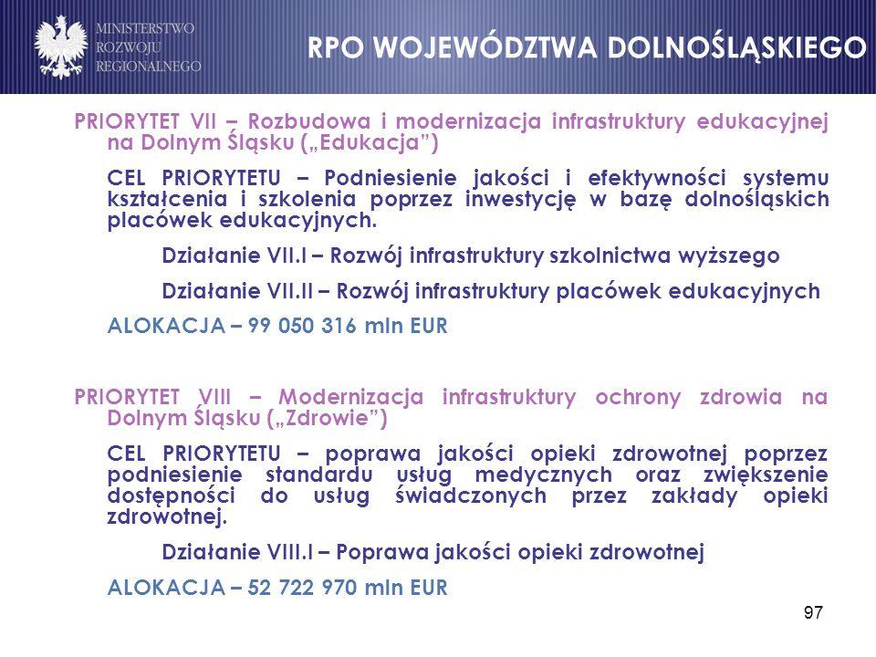 """97 PRIORYTET VII – Rozbudowa i modernizacja infrastruktury edukacyjnej na Dolnym Śląsku (""""Edukacja"""") CEL PRIORYTETU – Podniesienie jakości i efektywno"""