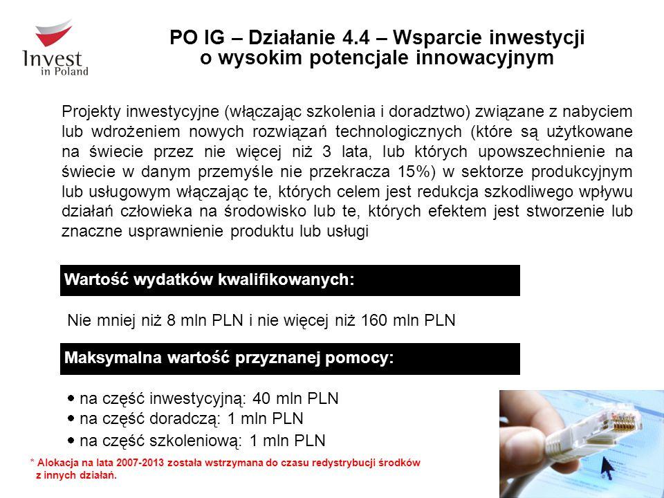 PO IG – Działanie 4.4 – Wsparcie inwestycji o wysokim potencjale innowacyjnym Maksymalna wartość przyznanej pomocy:  na część inwestycyjną: 40 mln PLN  na część doradczą: 1 mln PLN  na część szkoleniową: 1 mln PLN Wartość wydatków kwalifikowanych: Nie mniej niż 8 mln PLN i nie więcej niż 160 mln PLN Projekty inwestycyjne (włączając szkolenia i doradztwo) związane z nabyciem lub wdrożeniem nowych rozwiązań technologicznych (które są użytkowane na świecie przez nie więcej niż 3 lata, lub których upowszechnienie na świecie w danym przemyśle nie przekracza 15%) w sektorze produkcyjnym lub usługowym włączając te, których celem jest redukcja szkodliwego wpływu działań człowieka na środowisko lub te, których efektem jest stworzenie lub znaczne usprawnienie produktu lub usługi * Alokacja na lata 2007-2013 została wstrzymana do czasu redystrybucji środków z innych działań.