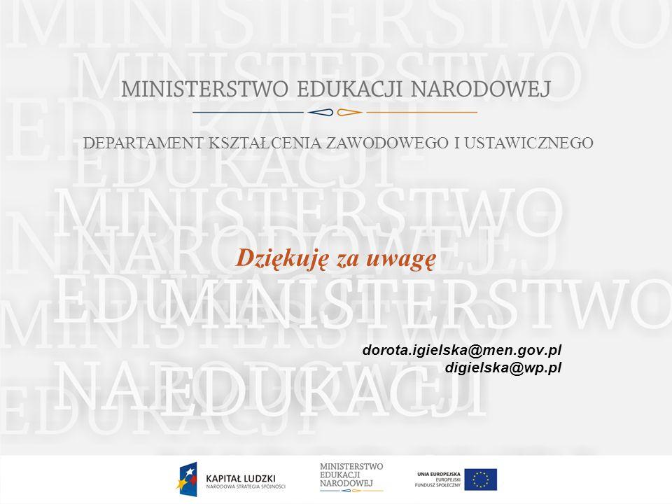 Dziękuję za uwagę dorota.igielska@men.gov.pl digielska@wp.pl DEPARTAMENT KSZTAŁCENIA ZAWODOWEGO I USTAWICZNEGO
