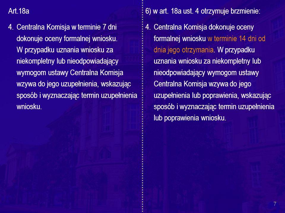 7 Art.18a 4.Centralna Komisja w terminie 7 dni dokonuje oceny formalnej wniosku.