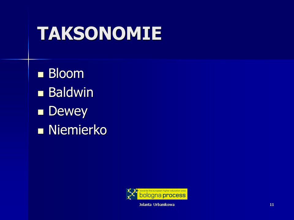 Jolanta Urbanikowa11 TAKSONOMIE Bloom Bloom Baldwin Baldwin Dewey Dewey Niemierko Niemierko