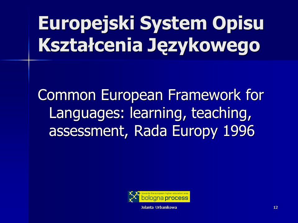 Jolanta Urbanikowa12 Europejski System Opisu Kształcenia Językowego Common European Framework for Languages: learning, teaching, assessment, Rada Europy 1996