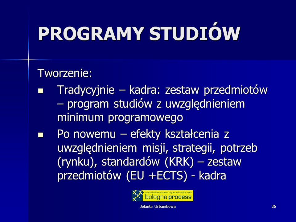 Jolanta Urbanikowa26 PROGRAMY STUDIÓW Tworzenie: Tradycyjnie – kadra: zestaw przedmiotów – program studiów z uwzględnieniem minimum programowego Tradycyjnie – kadra: zestaw przedmiotów – program studiów z uwzględnieniem minimum programowego Po nowemu – efekty kształcenia z uwzględnieniem misji, strategii, potrzeb (rynku), standardów (KRK) – zestaw przedmiotów (EU +ECTS) - kadra Po nowemu – efekty kształcenia z uwzględnieniem misji, strategii, potrzeb (rynku), standardów (KRK) – zestaw przedmiotów (EU +ECTS) - kadra