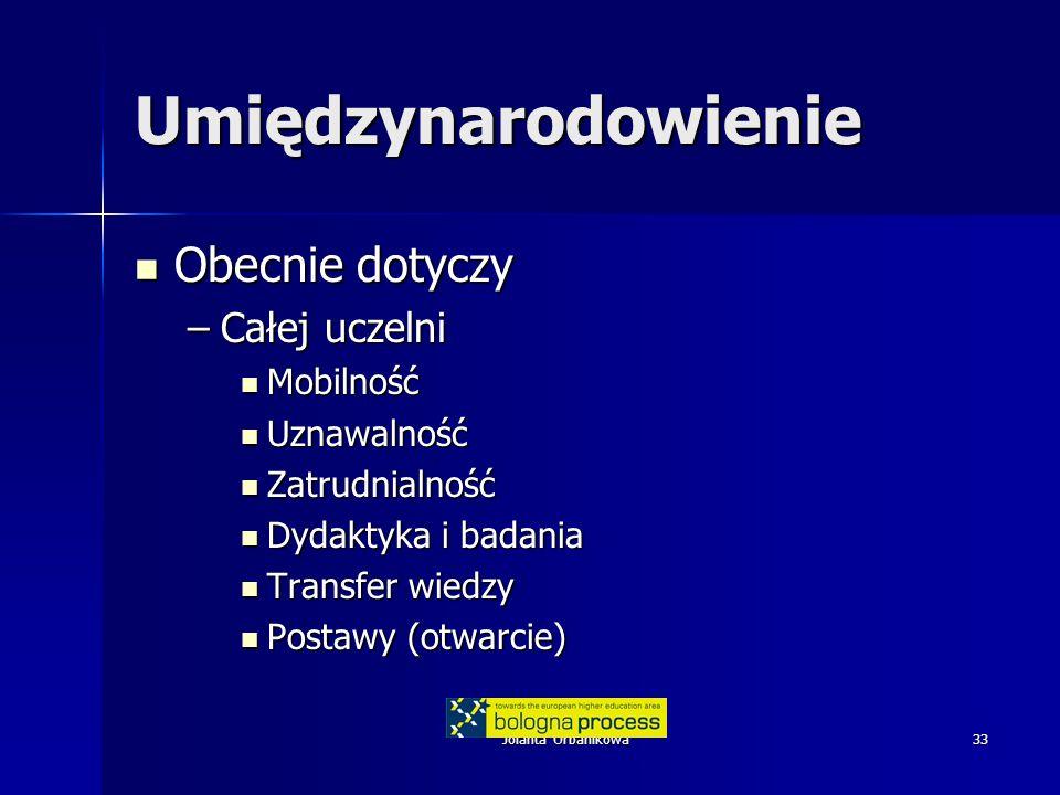 Jolanta Urbanikowa33 Umiędzynarodowienie Obecnie dotyczy Obecnie dotyczy –Całej uczelni Mobilność Mobilność Uznawalność Uznawalność Zatrudnialność Zatrudnialność Dydaktyka i badania Dydaktyka i badania Transfer wiedzy Transfer wiedzy Postawy (otwarcie) Postawy (otwarcie)