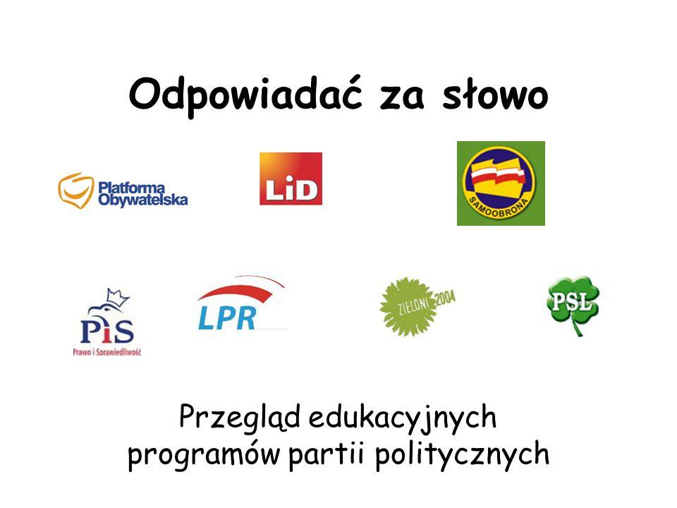 Inne tematy Odbiurokratyzowanie szkoły Szkolenia dla nauczycieli – brak opinii Samoobrony Jak najmniej polityki w edukacji – veto LPR Pakt dla edukacji Realizacja postulatów wyborczych