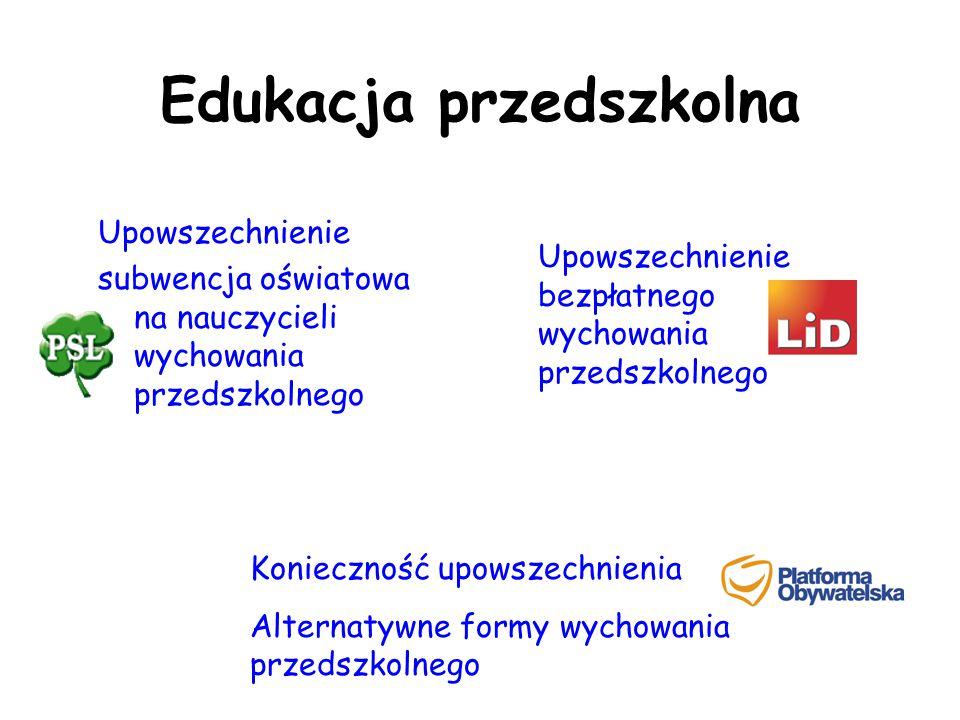 Edukacja przedszkolna Upowszechnienie subwencja oświatowa na nauczycieli wychowania przedszkolnego Konieczność upowszechnienia Alternatywne formy wych
