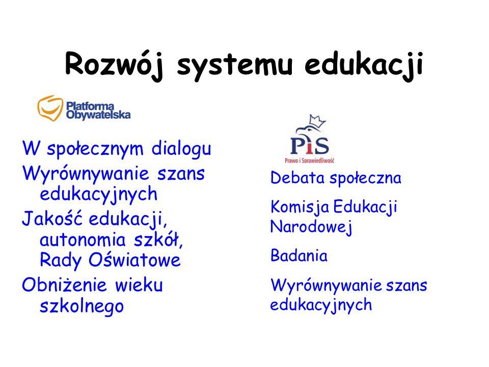 Rozwój systemu edukacji W społecznym dialogu Wyrównywanie szans edukacyjnych Jakość edukacji, autonomia szkół, Rady Oświatowe Obniżenie wieku szkolneg