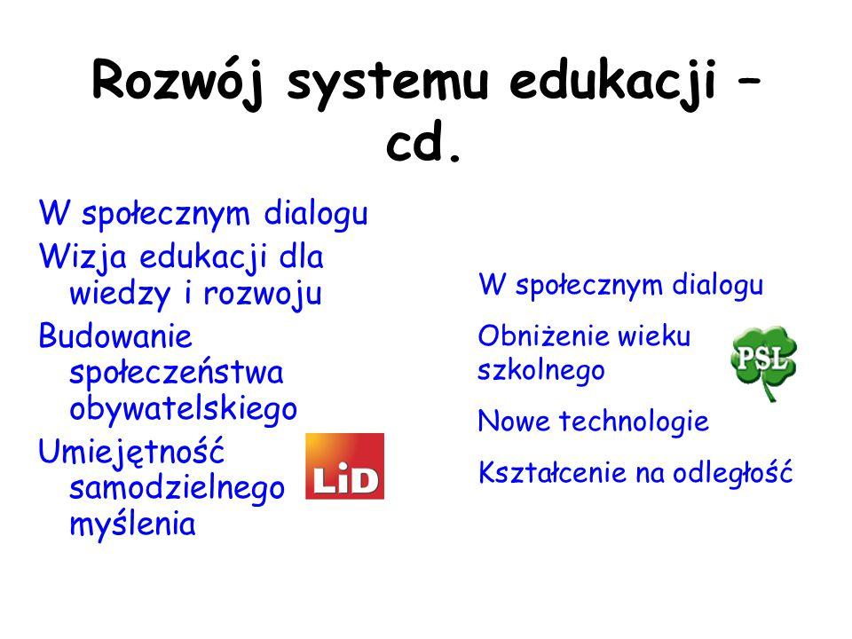 Rozwój systemu edukacji – cd. W społecznym dialogu Wizja edukacji dla wiedzy i rozwoju Budowanie społeczeństwa obywatelskiego Umiejętność samodzielneg