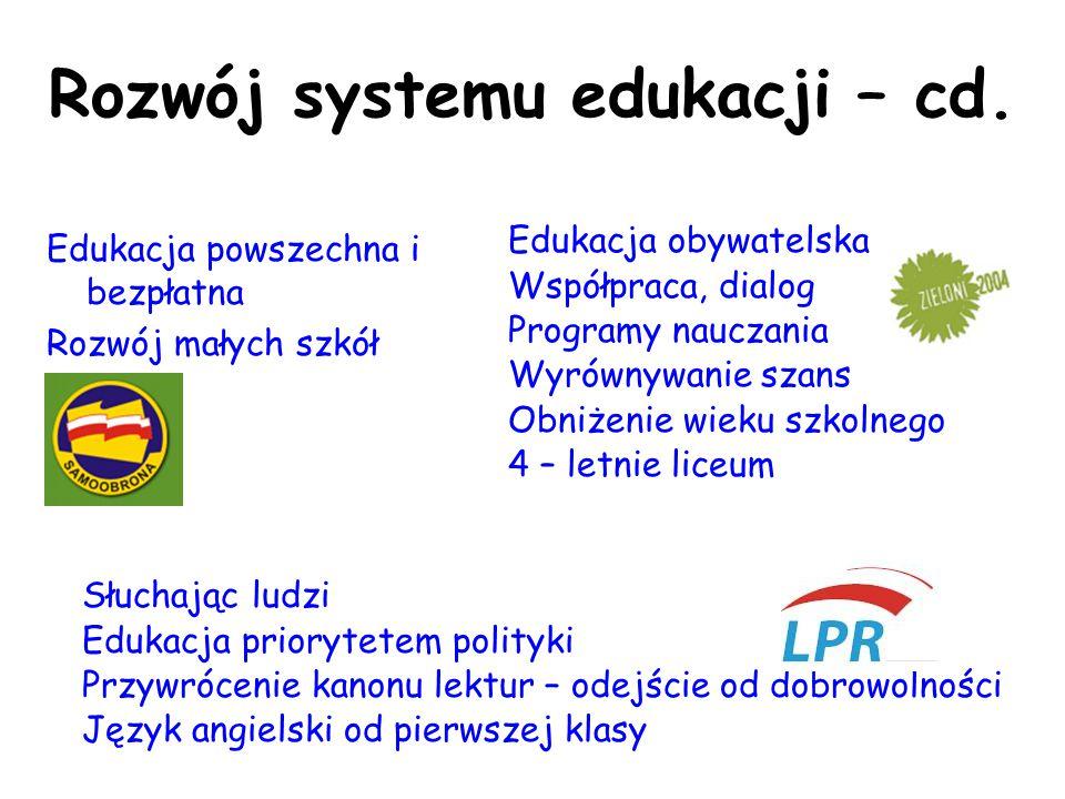 Rozwój systemu edukacji – cd. Edukacja powszechna i bezpłatna Rozwój małych szkół Edukacja obywatelska Współpraca, dialog Programy nauczania Wyrównywa
