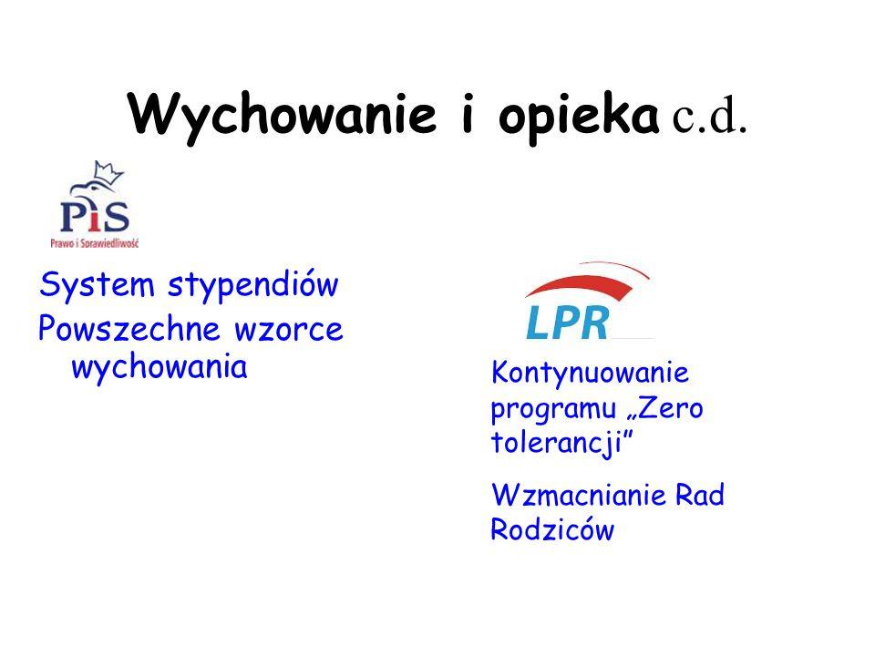 """Wychowanie i opieka c.d. System stypendiów Powszechne wzorce wychowania Kontynuowanie programu """"Zero tolerancji"""" Wzmacnianie Rad Rodziców"""