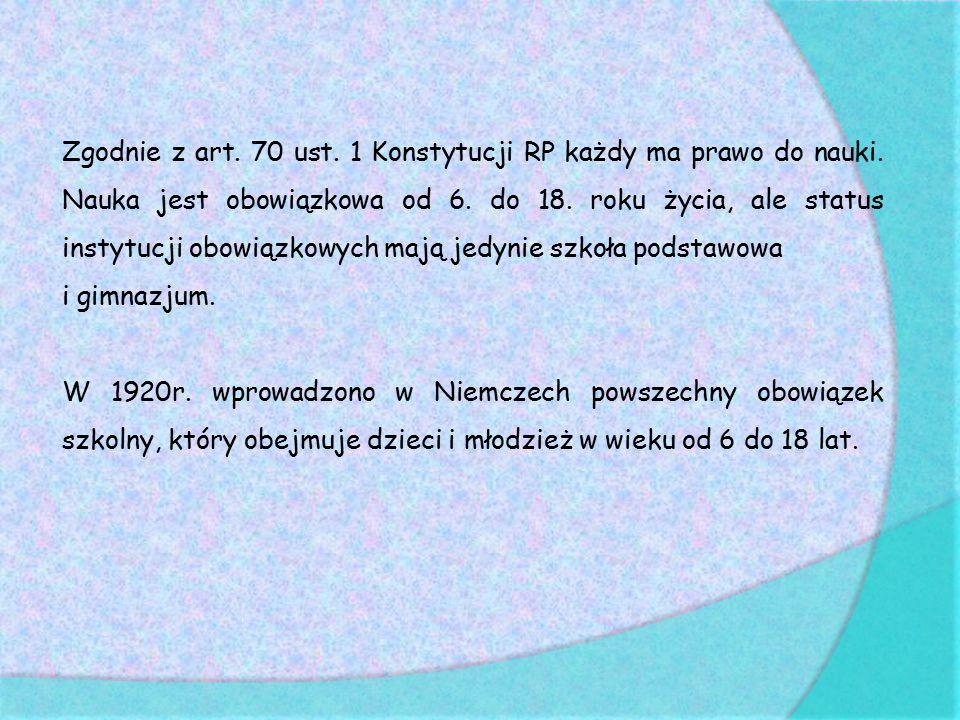 Schemat systemu szkolnictwa w Polsce i w Niemczech