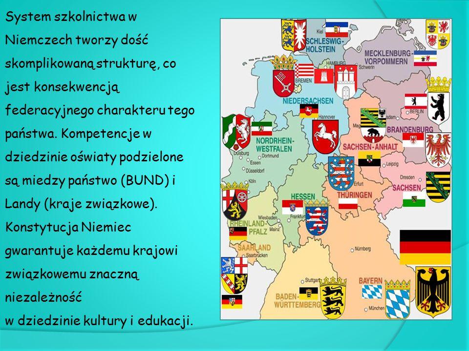 Szkoły podstawowe Szkoła podstawowa (Grundschule) trwa 4 lata (w Berlinie i Brandenburgii 6 lat) i każdy musi do niej uczęszczać.