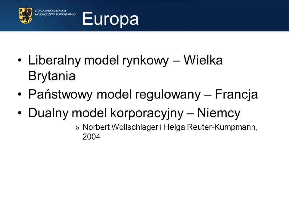 Europa Liberalny model rynkowy – Wielka Brytania Państwowy model regulowany – Francja Dualny model korporacyjny – Niemcy »Norbert Wollschlager i Helga Reuter-Kumpmann, 2004