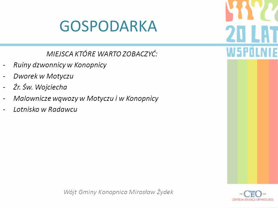 GOSPODARKA TURYSTYKA -Jako taka gmina, wielu atrakcji turystycznych nie ma, oprócz tego, że jesteśmy na pewnym ciągu drogowym między Lublinem, a Nałęczowem, czy Kazimierzem.