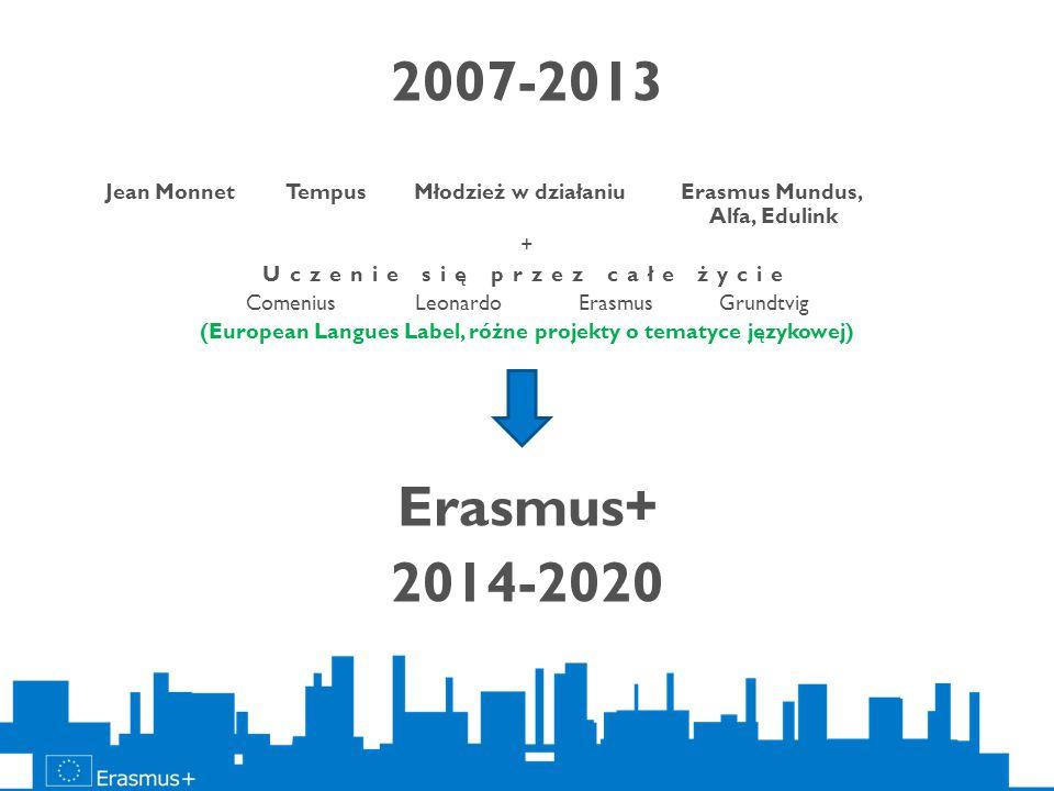 2007-2013 Jean Monnet Tempus Młodzież w działaniu Erasmus Mundus, Alfa, Edulink + Uczenie się przez całe życie Comenius Leonardo Erasmus Grundtvig (Eu