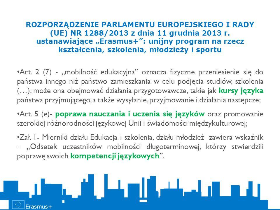 """ROZPORZĄDZENIE PARLAMENTU EUROPEJSKIEGO I RADY (UE) NR 1288/2013 z dnia 11 grudnia 2013 r. ustanawiające """"Erasmus+"""": unijny program na rzecz kształcen"""