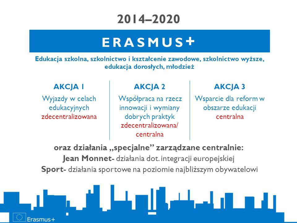 """2014–2020 oraz działania """"specjalne"""" zarządzane centralnie: Jean Monnet- działania dot. integracji europejskiej Sport- działania sportowe na poziomie"""