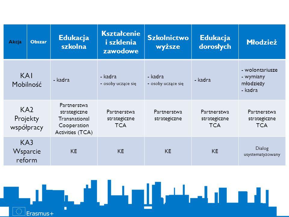 AkcjaObszar Edukacja szkolna Kształcenie i szklenia zawodowe Szkolnictwo wyższe Edukacja dorosłych Młodzież KA1 Mobilność - kadra - osoby uczące się - kadra - osoby uczące się - kadra - wolontariusze - wymiany młodzieży - kadra KA2 Projekty współpracy Partnerstwa strategiczne Transnational Cooperation Activities (TCA) Partnerstwa strategiczne TCA Partnerstwa strategiczne TCA Partnerstwa strategiczne TCA KA3 Wsparcie reform KE Dialog usystematyzowany