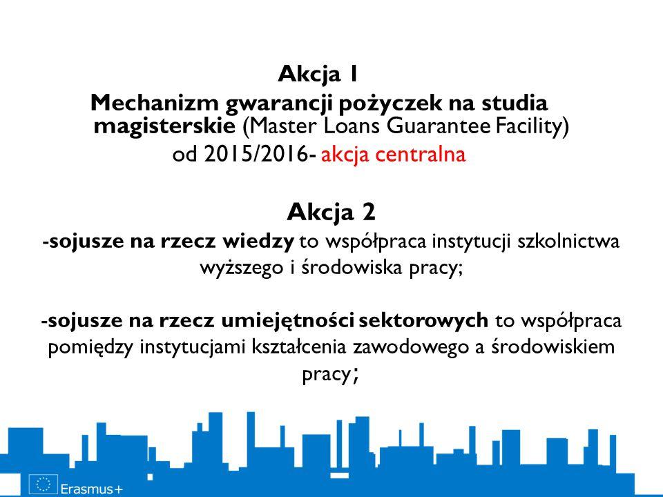 Akcja 2 -sojusze na rzecz wiedzy to współpraca instytucji szkolnictwa wyższego i środowiska pracy; -sojusze na rzecz umiejętności sektorowych to współ