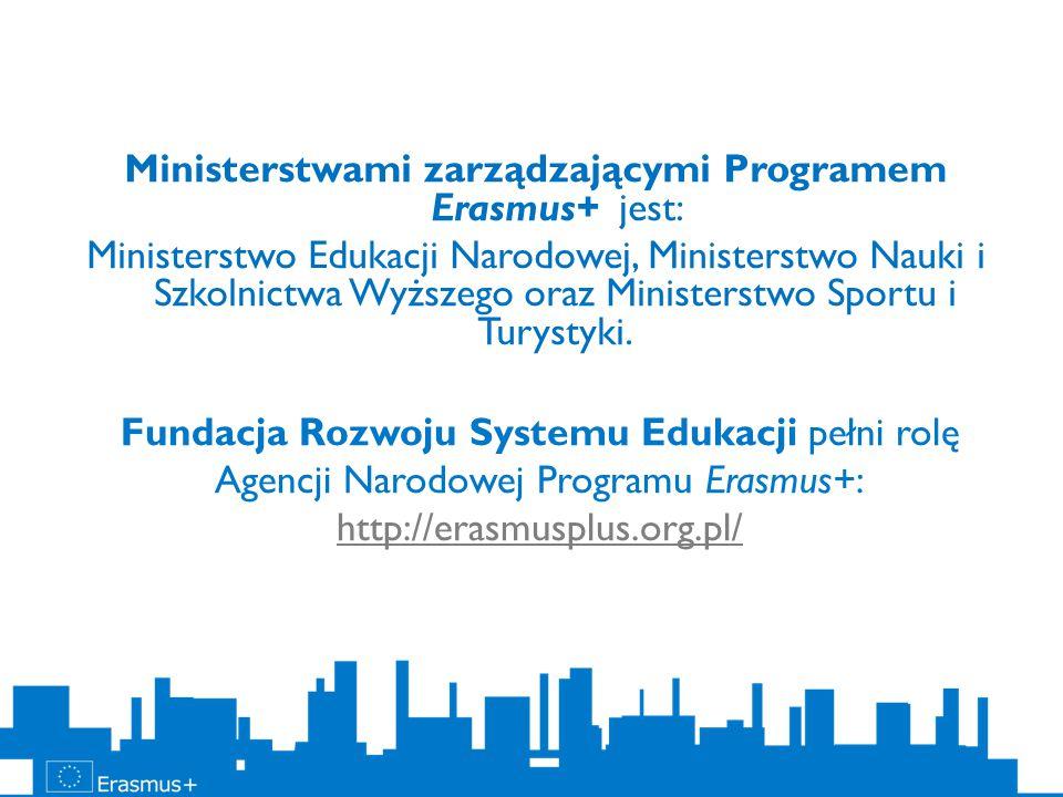 Fundacja Rozwoju Systemu Edukacji pełni rolę Agencji Narodowej Programu Erasmus+: http://erasmusplus.org.pl/ http://erasmusplus.org.pl/ Ministerstwami zarządzającymi Programem Erasmus+ jest: Ministerstwo Edukacji Narodowej, Ministerstwo Nauki i Szkolnictwa Wyższego oraz Ministerstwo Sportu i Turystyki.