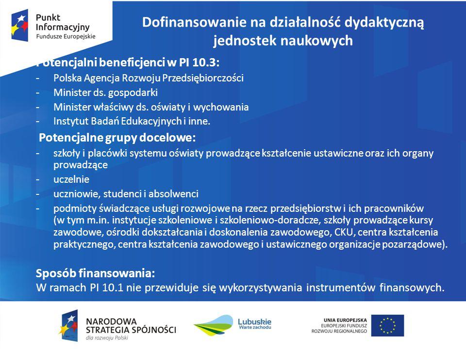 Dofinansowanie na działalność dydaktyczną jednostek naukowych Potencjalni beneficjenci w PI 10.3: -Polska Agencja Rozwoju Przedsiębiorczości -Minister ds.